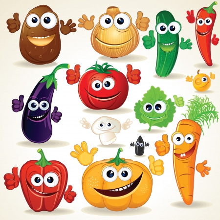 crazy: Funny Various Cartoon Vegetables. Clip Art