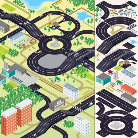 city street: 3D Isometric City Map. Buildings, Vegetations, Cars, Roads and other Urban Objects and Elements.