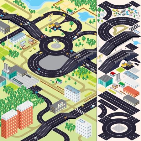 3D isometrische Stadtplan. Gebäude, Vegetationen, Autos, Straßen und andere städtische Objekte und Elemente.