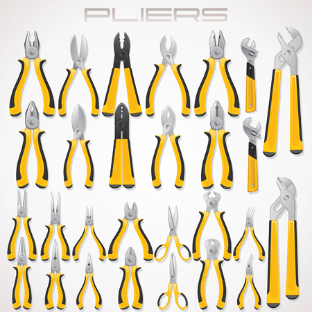 alicates: Alicates. Colección de herramientas de la cerradura. Iconos