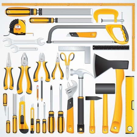 the hand tools: Icons of Modern Hand Tools. Instruments Collection for Metalwork, Woodwork, Mechanical and Measuring Works.