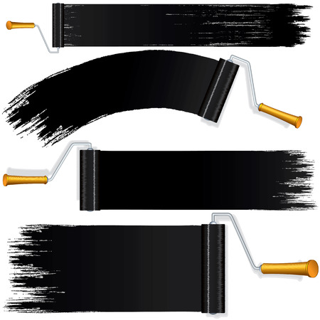 roller brush: Black Roller Brush Painting on Wall. Various Paint Strokes on White Background. Design Elements for Your Web Banner, Header or Text.