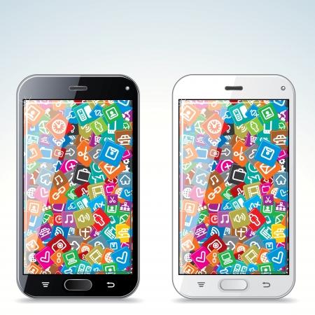 uncontrolled: Illustration of Black and White Modern Smart Phones. Image on White Background