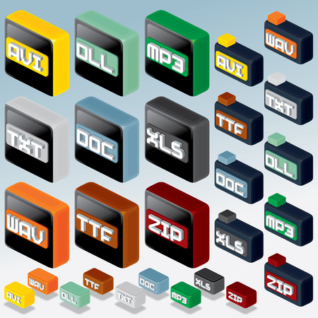 3D Isometric File Type Icons Set photo