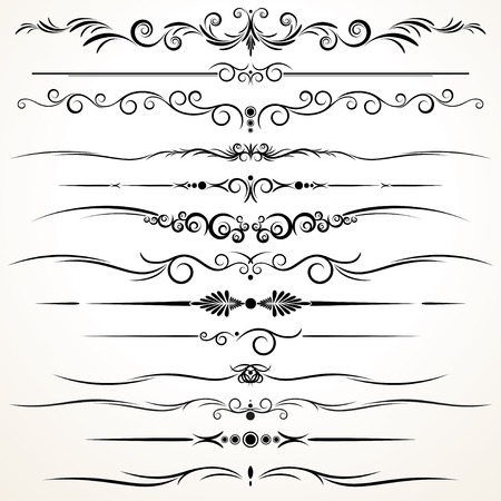 ornamental background: Collection of Ornamental Rule Lines in Different Design styles