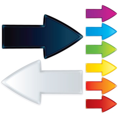 Set of Faceted Arrows. Multicolored Graphic Elements Stock Photo - 22958625