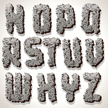 Alphabet Letters Made from Old Cracked Stones. Set of Grunge Font Letters. Stock Photo - 22958630