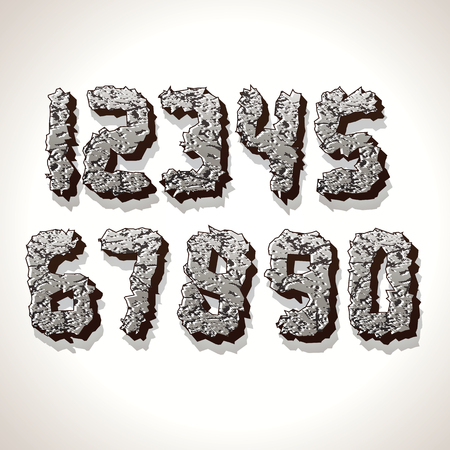num: Alphabet Numbers Made from Old Cracked Stones. Set of Grunge Font Letters. Stock Photo