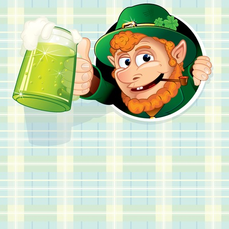 st patty day: Cartoon Leprechaun with Mug of Green Ale Stock Photo