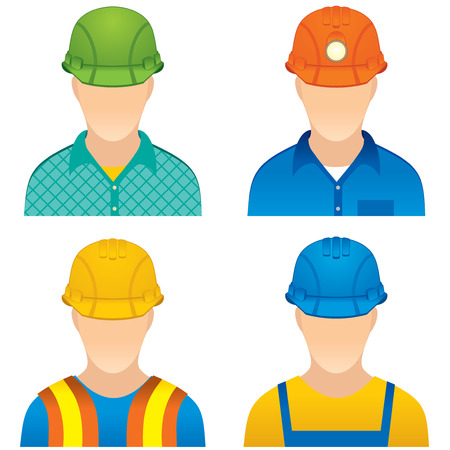 manual worker: Various Workers: home worker, road builder, construction worker and miner dummy Stock Photo