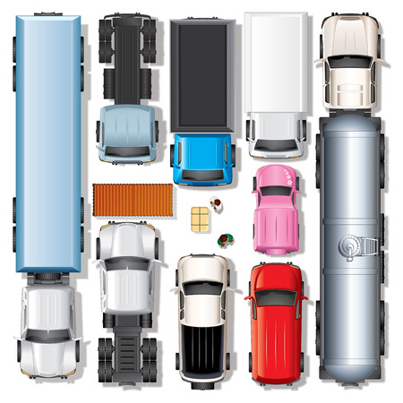 grafiken: Verschiedene Trucks. Satz umfassen: Freightliner Truck, Frontlenker, Sleeper Cab Traktor, Kipplaster, Stadt Pickup, Kastenwagen, Minivan, Öltanker