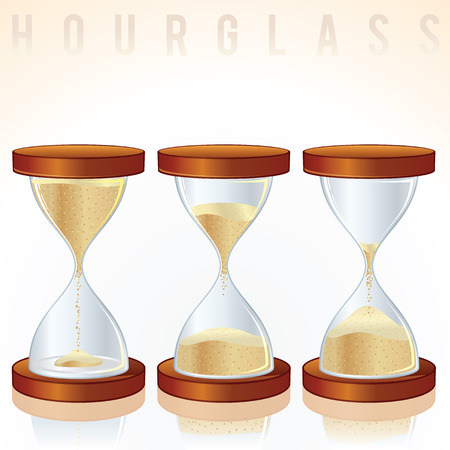 trickle down: Vintage Hourglass. Three Different States.