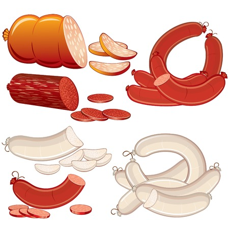 veal sausage: Set of Fresh Wurst and Sousages. Illustration