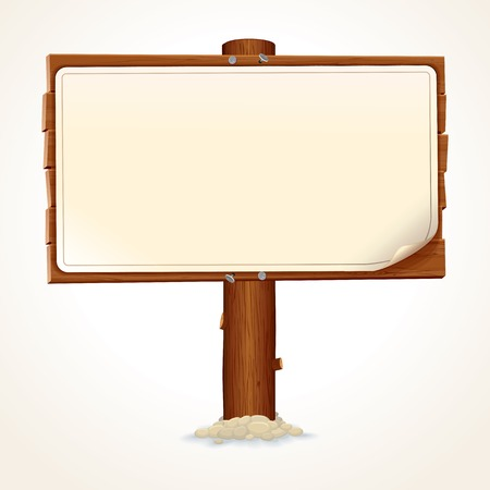 Old Wood Billboard Isolated on White Background. Vector Image Illustration