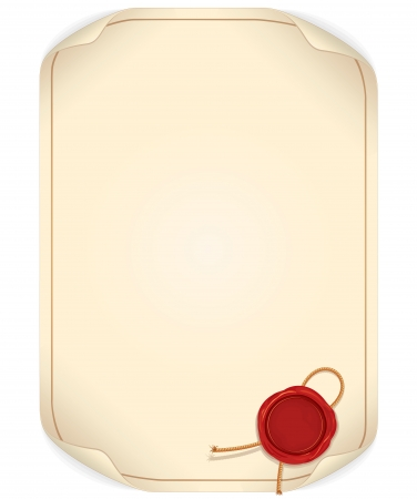 Paper Scroll with Wax Seal. Ready for Your Text and Design. Vector