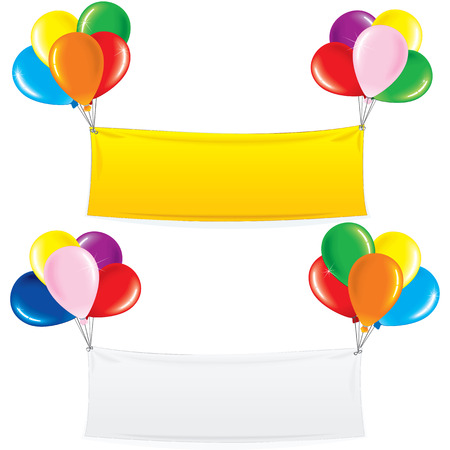 commercial sign: Textile Banner on Colorful Helium Balloons. Festive Birthday Decoration Ready for Your Text and Design. Illustration