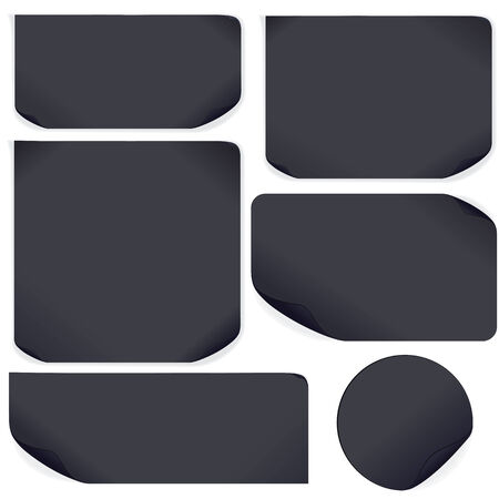 Black Paper Stickers. Vector Template Ready for Your Text and Design Vector