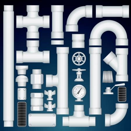 Budowa rurociągów z PVC. W zestawie plastikowe prostej rury, złącza, części zaworu, grille, krzywa łokciach. Zestaw wektora Konfigurowalny