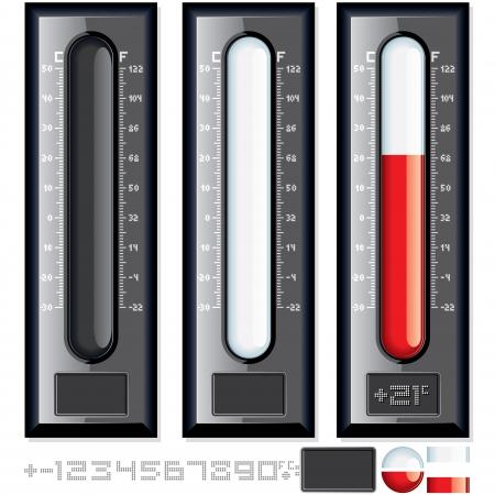 termometro: Termometro Vector Kit. Illustrazione personalizzabile Vettoriali