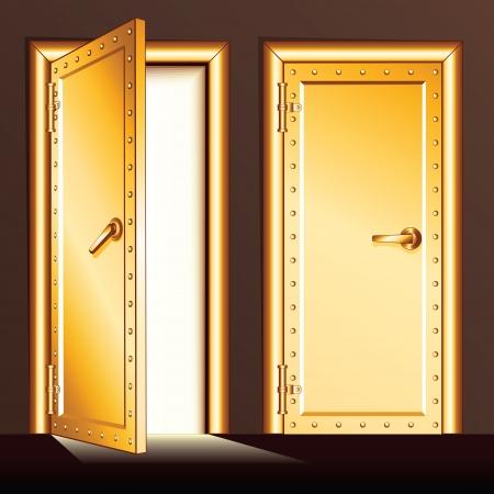 reliability: Golden Vault Door. Vector Illustration