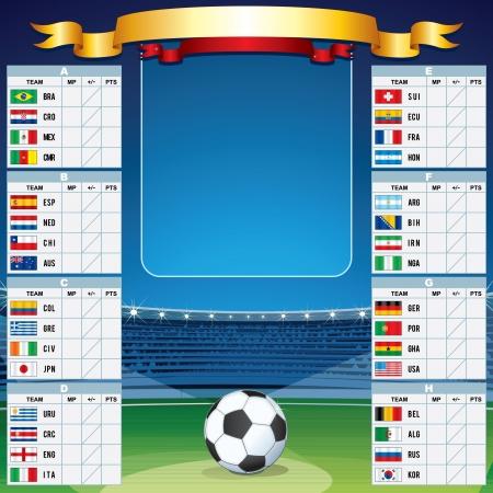 Soccer Background with World Cup Table. Vector Set Ilustração