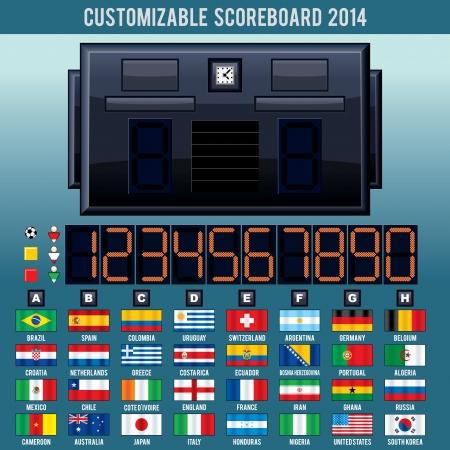 World Cup Football, Soccer Scoreboard. 2014 Vector Kit