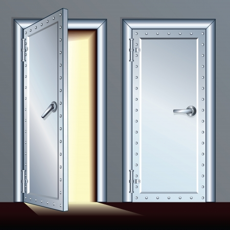 metal doors: Opened and Closed Vault Door. Vector Illustration