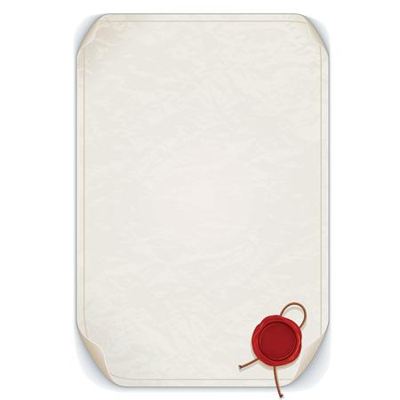 Oud Manuscript Scroll met rode lakzegel. Vector alleenstaande op wit. Klaar voor uw tekst en ontwerp.
