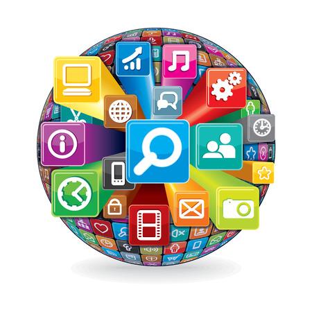 Sphere von einem Verschiedene Social Media und Computer-Icons. Technologie-Konzept. Vektor isoliert auf weißem Hintergrund. Illustration
