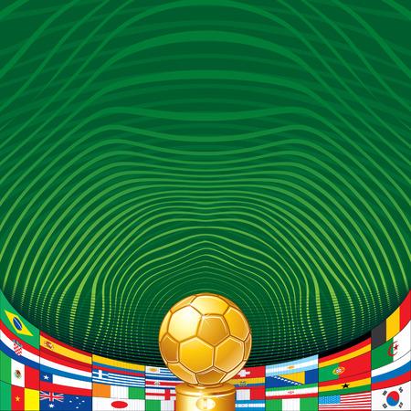 Fußball-Hintergrund mit Golden Cup und Flaggen. Bereit für Ihren Text und Gestaltung.