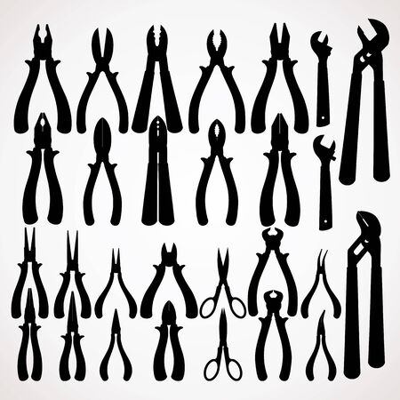 pipework: Various Pliers Silhouettes. Hand Tools Collection. Vector Clip Art