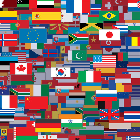 multiplicity: Background Made from World Flags. Vector Template Illustration