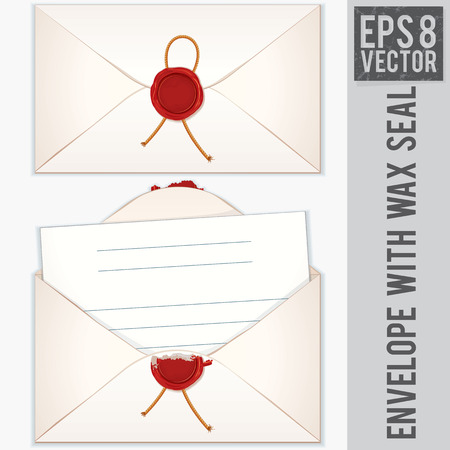 Sealed and Opened Envelope with Blank Letter. Vector Ready for Your Text and Design. Vector