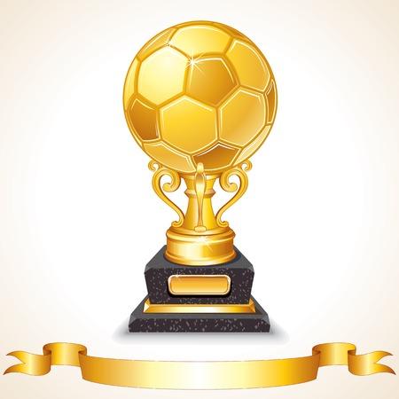 Abstract Golden Soccer Trophy. Vector Illustration