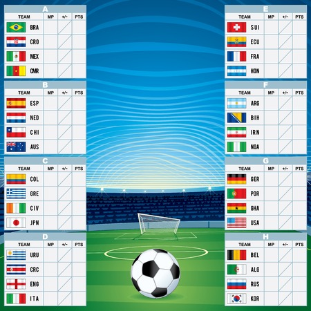 world group: Championship Table with Qualified Teams. Vector Template
