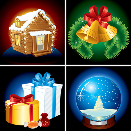 Detailed Christmas Icons and illustrations Vector