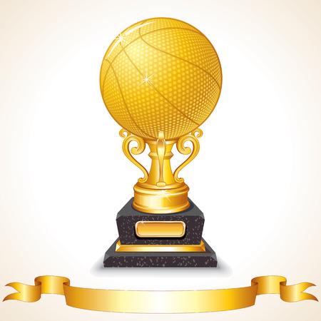Golden Basketball Trophy. Vector Illustration Vectores