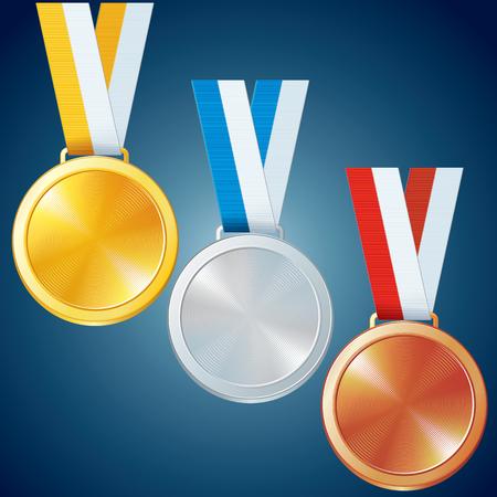 gold medal: Golden, Silver and Bronze Medals. Vector Set Illustration