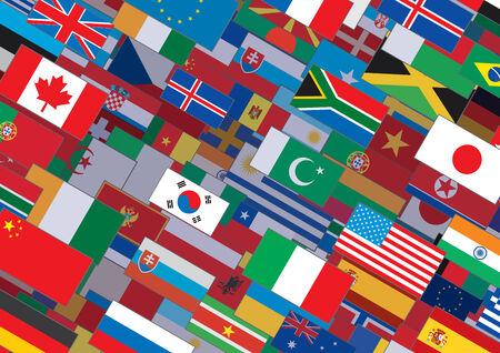 flags world: Horizontal Banderas del mundo de fondo. Listo para el texto y el dise�o.