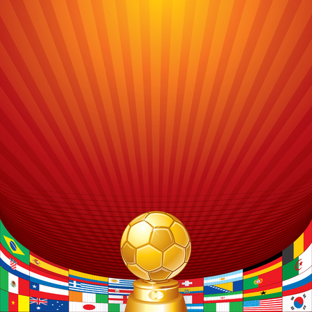Soccer Background. Golden Cup and Flags of National Teams. Ready for Your Text and Design. Vector