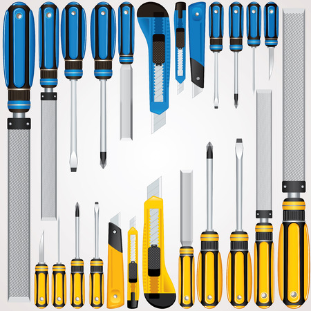 rasp: Vector Hand Tools. Screwdrivers, Cutters, Files etc...