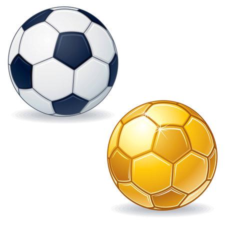 pelota de futbol: Oro del bal�n de f�tbol Vectores
