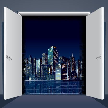 wooden doors: Room With Open Door To City. Vector Image