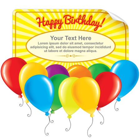 first birthday: Happy Birthday Card. Ready for Your Text and Design. Illustration