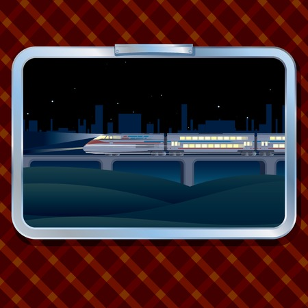 Night Train and Landscape. A view from a Window of a Train Vector