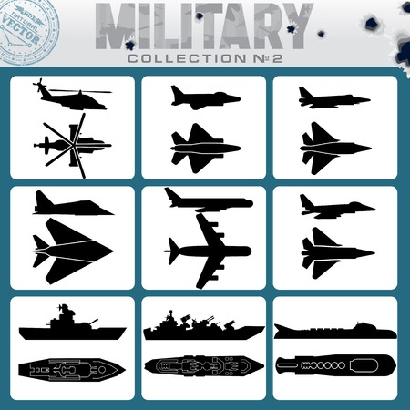 the destroyer: Military Planes and Warships. Vector Icon Set