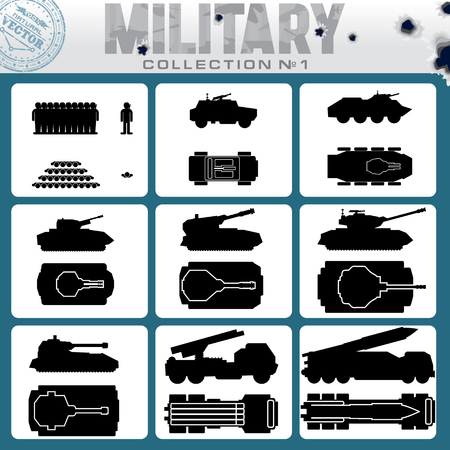 Various Military Vehicles and Weapons. Vector Icon Collection Vector