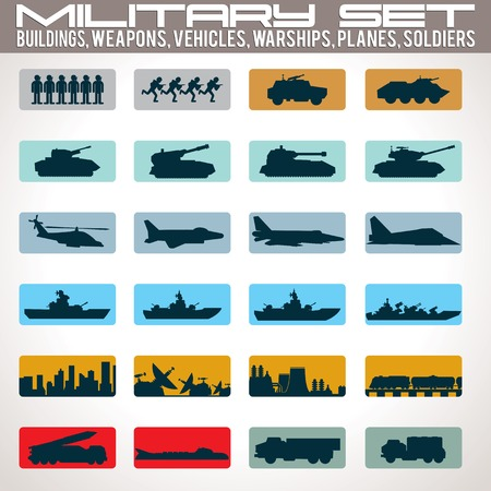 the air attack: Military Icons Set. Include - Buildings, Tanks, Vehicles, Warships, Planes and Soldiers. Vector