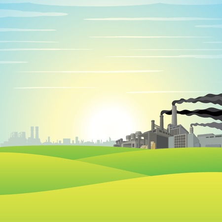 industrial complex: Chemical Factory on Green Meadow. Vector Landscape