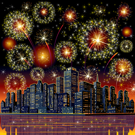 4 july: Firework City At Night. Vector Image for your Design